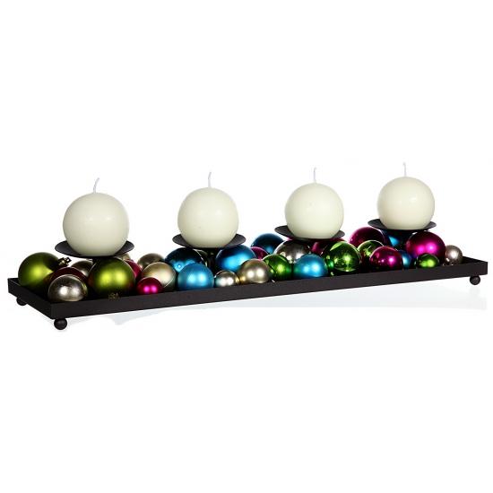 Kaarsen houder met gekleurde kerstballen