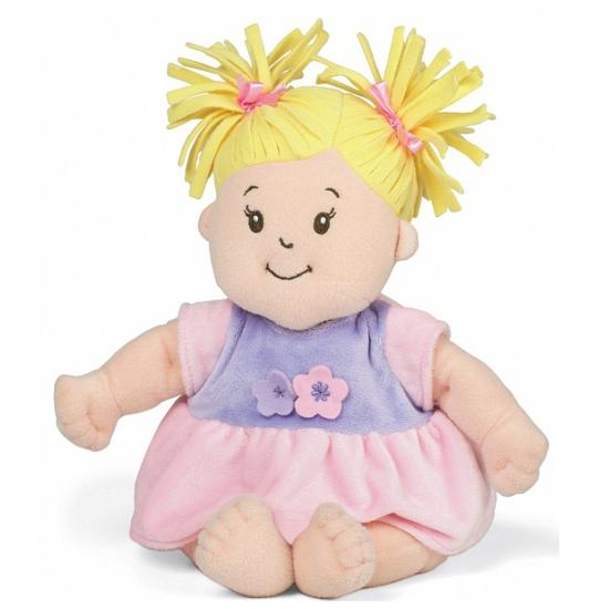 Kado pop baby Stella met blonde staartjes en roze jurkje