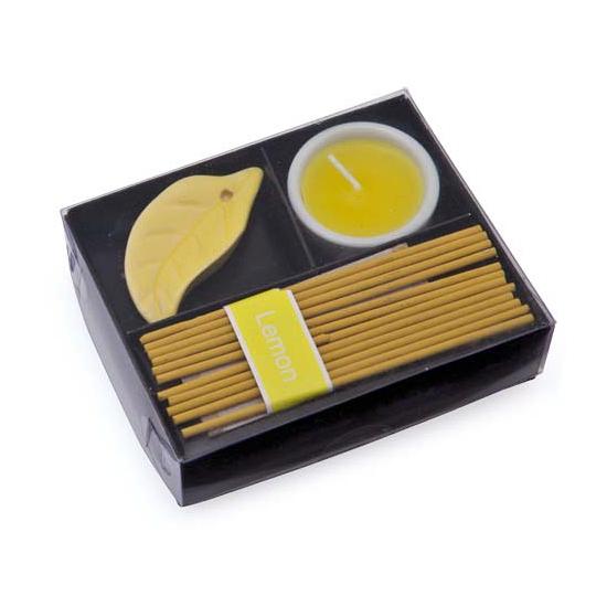 Kado setje citroen wierook en kaarsje