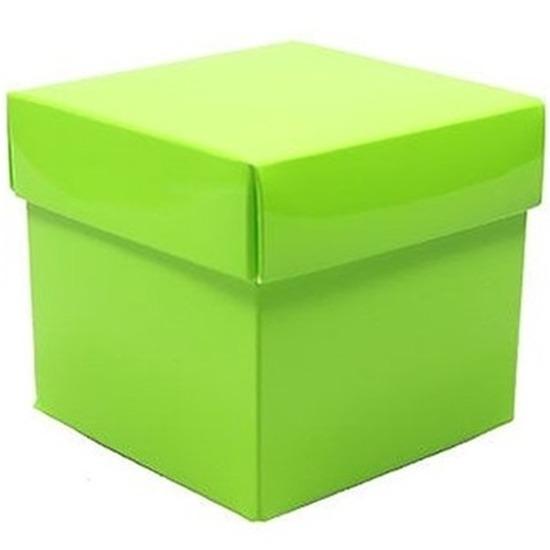 Kado verpakking doosje lime groen 10 cm