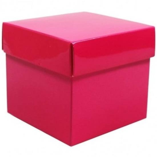 Kado verpakking doosje roze 10 cm