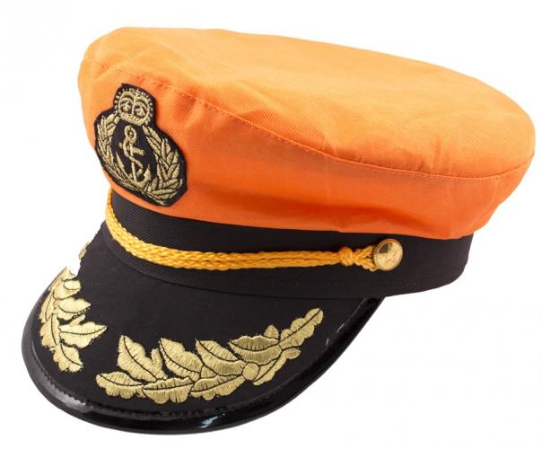Kapiteinen hoeden in oranje kleur