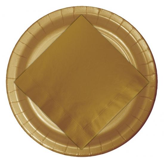 Kartonnen bordjes goud 23 cm