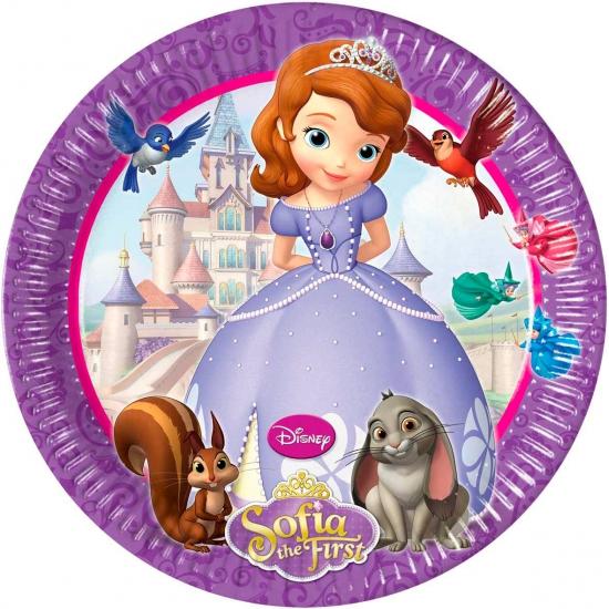 Kartonnen bordjes Sofia het prinsesje 8 stuks