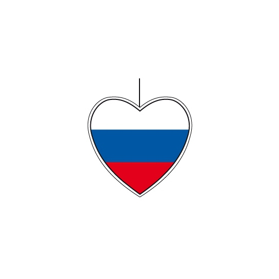Kartonnen hart met de vlag van Rusland 14 cm