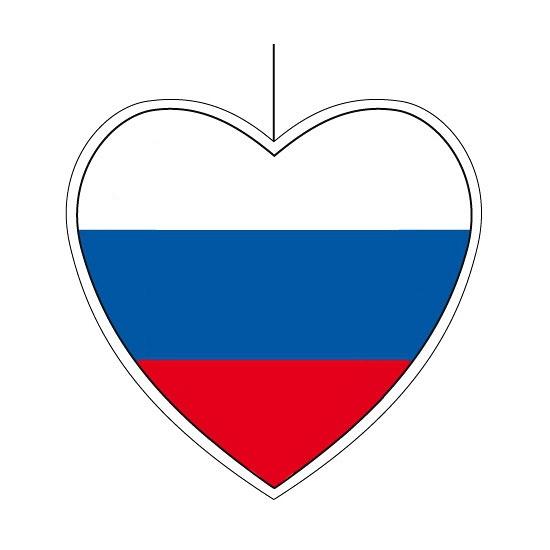 Kartonnen hart met de vlag van Rusland 28 cm