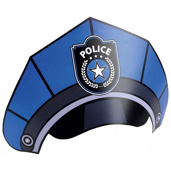 Kartonnen politie petjes acht stuks