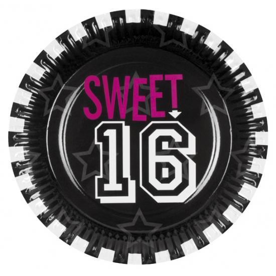 Kartonnen Sweet 16 bordjes 6 stuks