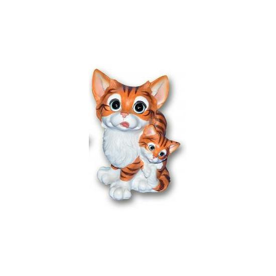 Kat met kitten bruin zittend van polystone 18 cm