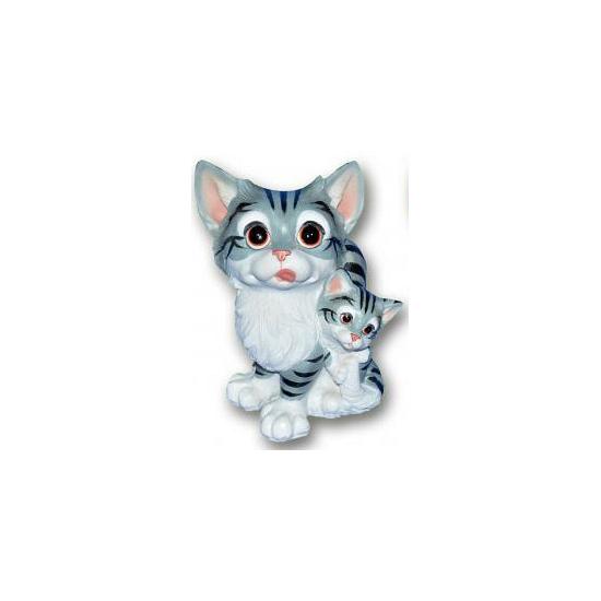 Kat met kitten grijs zittend van polystone 18 cm