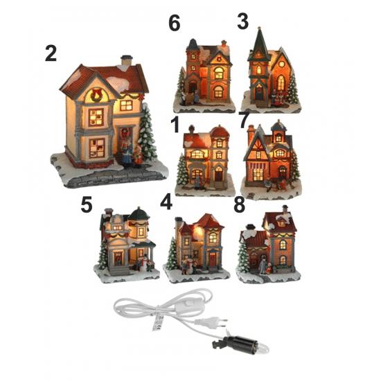 Kerst decoratie huisje LED nummer 8