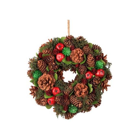 Kerst decoratie krans groen rood 26 cm
