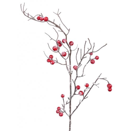 Kerst decoratie tak rode bessen met sneeuw