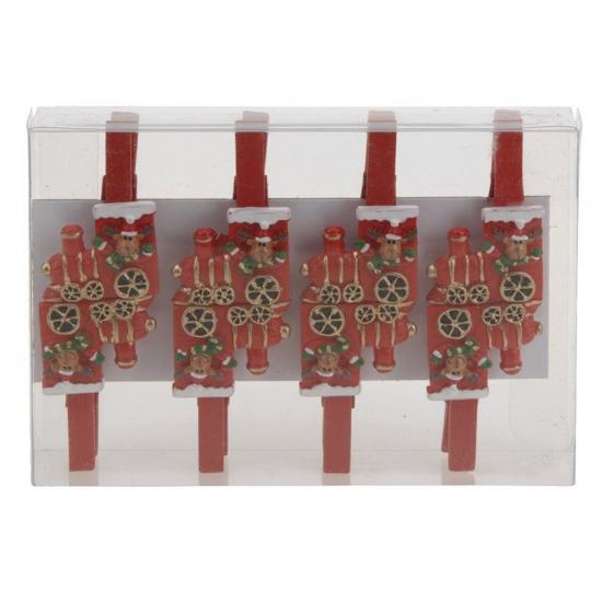 Kerstknijpers rendier in trein 8 stuks