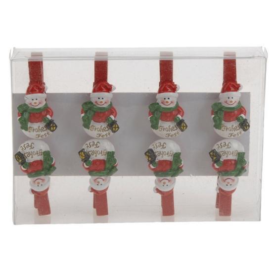 Kerstknijpers sneeuwpop 8 stuks