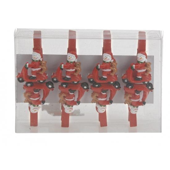 Kerstknijpers sneeuwpop scooter 8 stuks