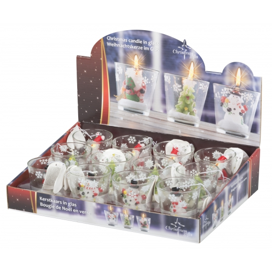 Kerstman decoratie kaarsje in glas 6,5 cm