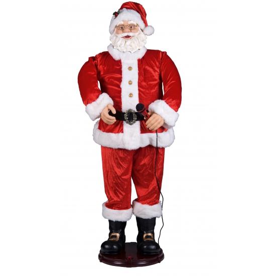 Kerstman met karaoke microfoon