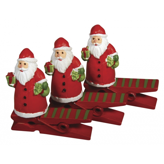 Kerstman thema knijpers 4 5 cm
