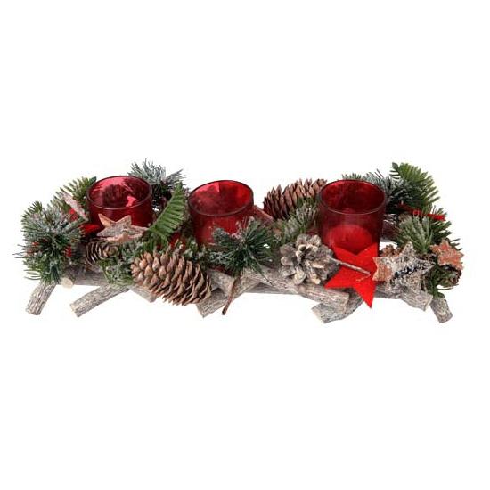 Kerststukje dennen met rode theelichthouders