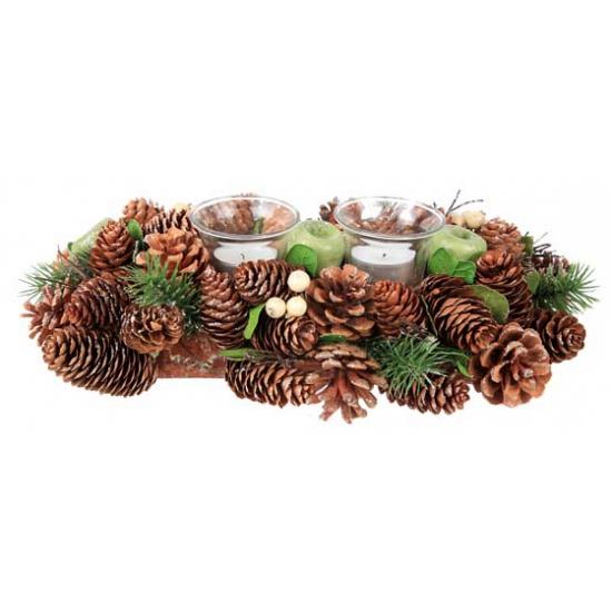 Kerststukje groen/bruin met theelichten