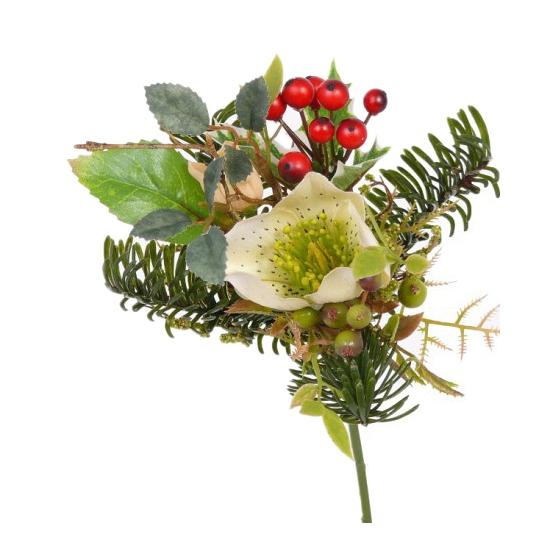 Kerststukje versiering witte helleborus 17 cm