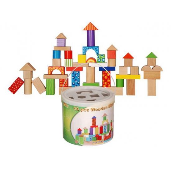 Kinder blokkenton met houten blokken 50 stuks