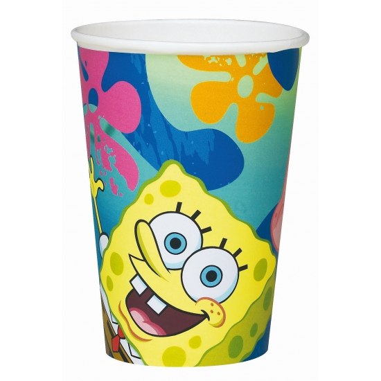 Kinder thema Spongebob bekers 6 stuks