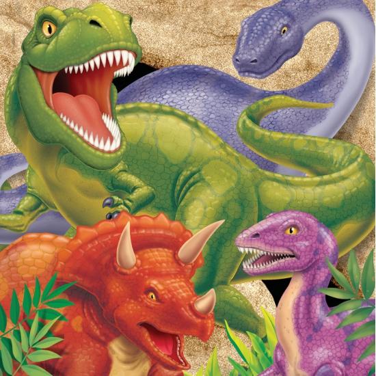 Kinder verjaardag dinosaurus servetten 16 stuks