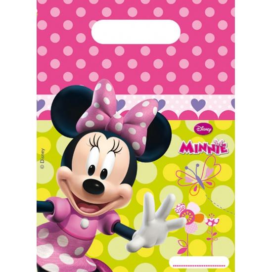 Kinderverjaardag uitdeel zakjes Minnie Mouse 6 stuks