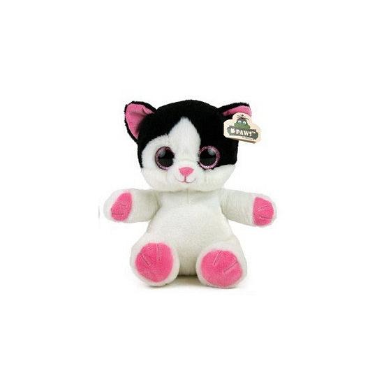 Kitten knuffeltje wit zwart 22 cm