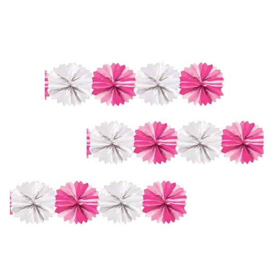 Kraamvisite roze met witte waaier slinger