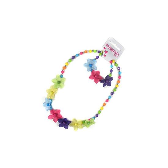 Kralen ketting en armband bloem