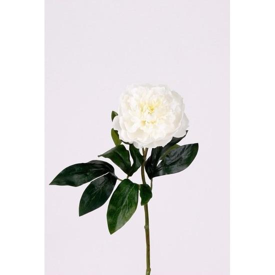 Kunst pioenrozen tak 42 cm wit