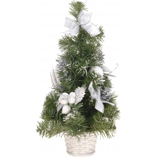 Kunstkerstboom met zilveren decoratie 40 cm