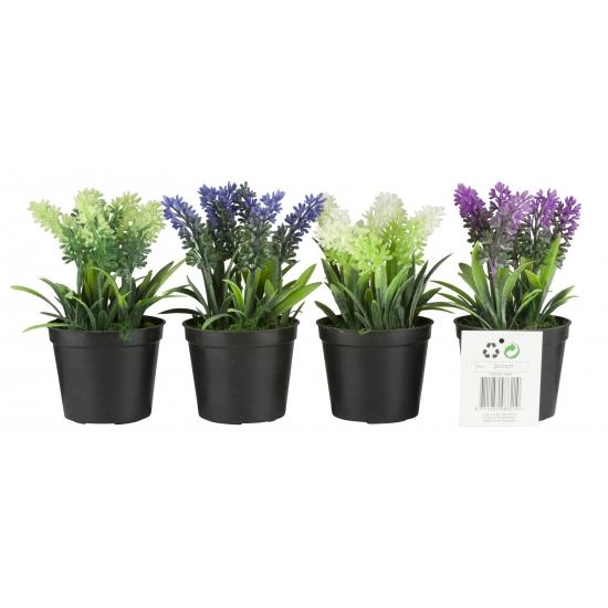 Kunstplanten witte lavendel 7,5 x 16 cm