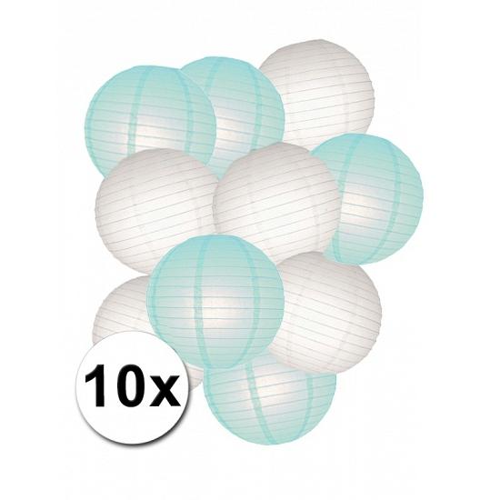 Lampionnen versiering set mint/wit