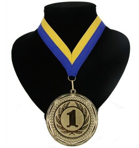 Landen lint nr  1 medaille geel en blauw