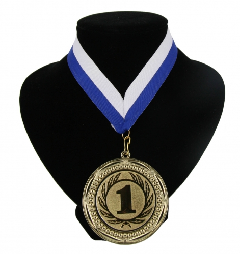 Landen lint nr  1 medaille wit en blauw