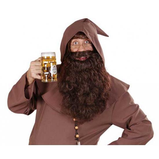 Lange baard met krullen bruin