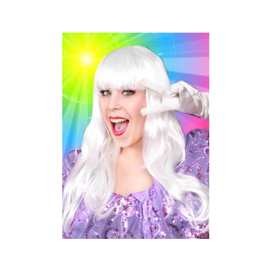 Lange haren pruik wit