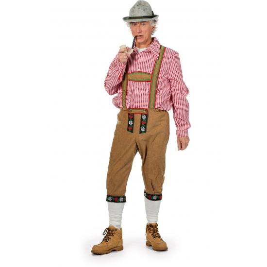 Lange lichtbruine Tiroler broek voor heren