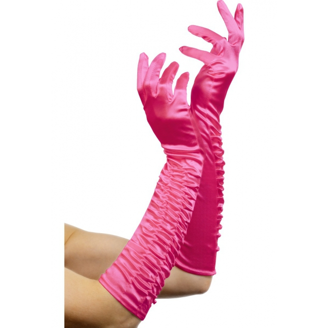Lange party handschoenen roze