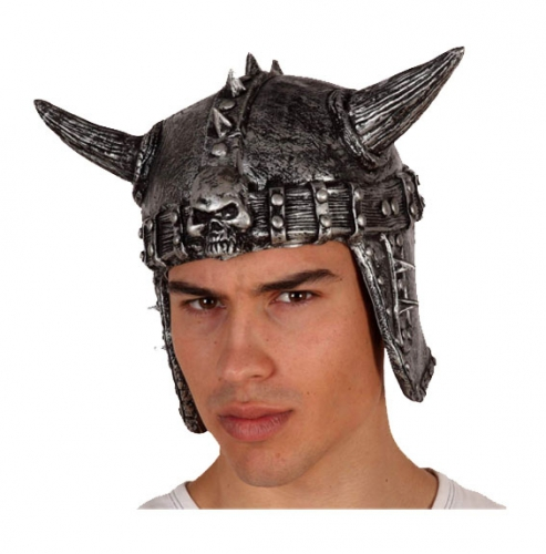 Latex helm met metaal look