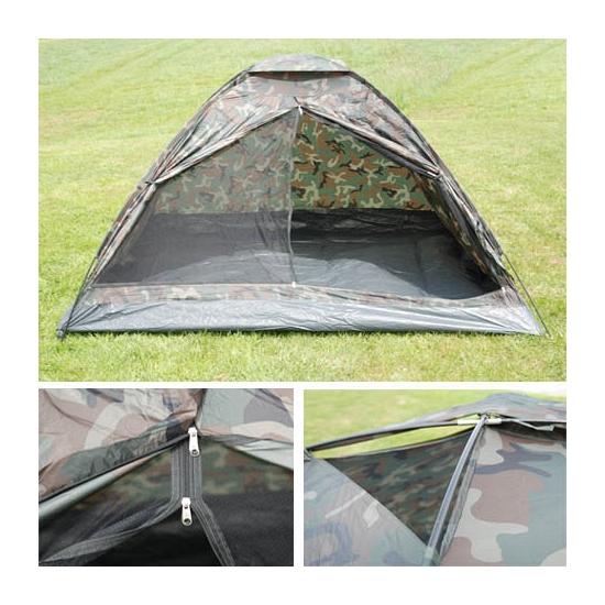 Legergroene camouflage tent voor 2 pers.
