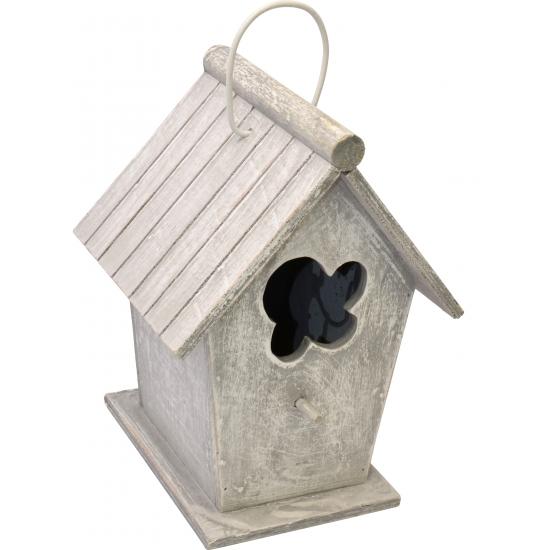 Lichtgrijs vintage huisje voor vogels