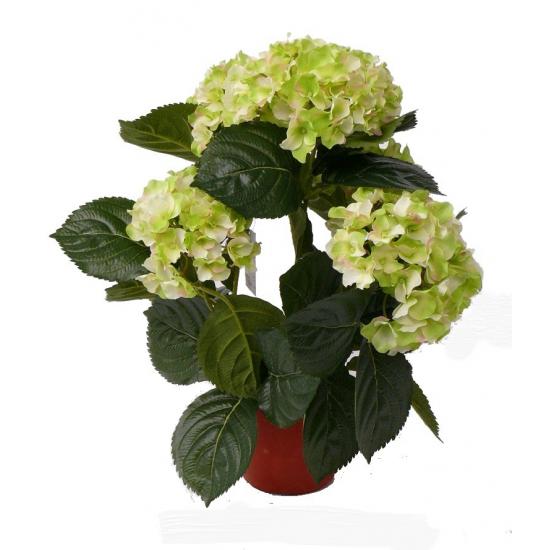 Lichtgroene kunst hortensia plant 36 cm