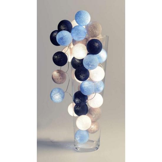 Lichtsnoer met balletjes blauw en wit