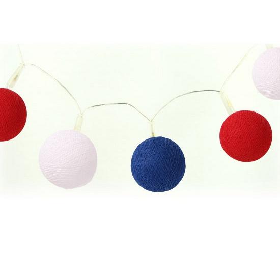 Lichtsnoer met balletjes rood wit blauw