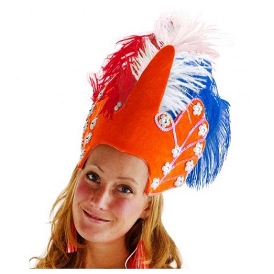 Luxe hoofdtooi oranje met veren